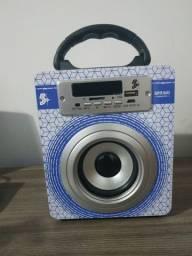 Caixinha De Som Bluetooth, USB, Leitor de Cartão e FM Controle Remoto