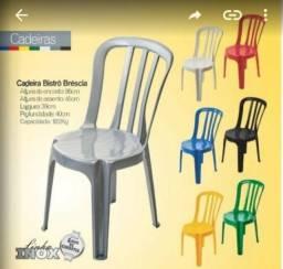 Cadeiras Polipropileno, sem braço, disponível na cor inox, branca e preta