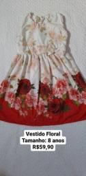 Vestido temático flores tamanho 8 anos novo