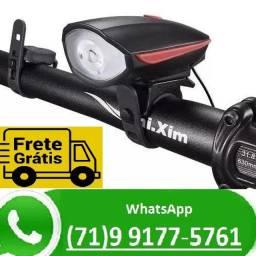 Farol Led Lanterna Bike Ciclista Buzina 3 Modos A Pilha (NOVO)