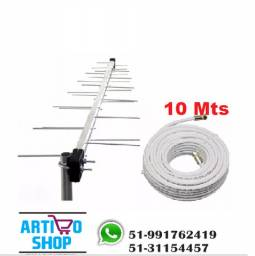 Antena Externa e Cabo Coaxial 10Mts Tv Digital Hdtv Full Hd Sinal Digital