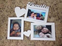Porta retrato em MDF Branco Familía