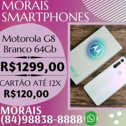 OFERTA - MOTOROLA G8 BRANCO 64GB (BRANCO) LACRADO COM NOTA FISCAL