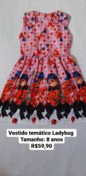 Vestido temático LADYBUG tamanho 8 anos novo