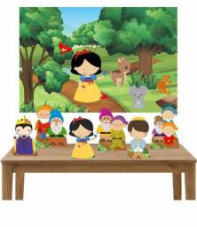 Kit Branca de Neve Cute 6 Display de mesa e Painel