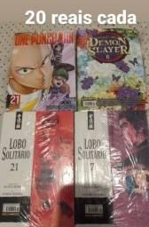 Mangás lacrados (Lobo solitário 7 e 21/ One Punch Man 21/ Demon Slayer 6)