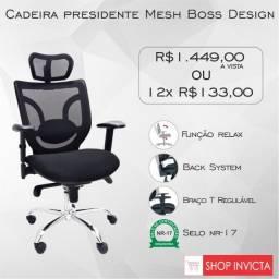 Cadeira Presidente Tela Mesh BOSS (Selo NR-17)