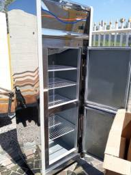 Refrigerador vertical geladeira comercial em aço inox gelopar 2 portas