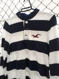 Camiseta manga longa listrada Hollister - Tamanho M