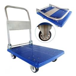 Carrinho de Carga Plataforma Dobravel 4 Rodas Compras Estoque