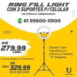 Ring Fill Light com 3 Suportes para Celular (Atendemos por Delivery)