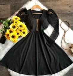Vestido feminino, malha canelada, manga TULE<br><br>