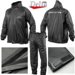 Capa de Chuva Poliéster Motoboy Delta Flex Moto Motociclista Chuva Frio 100% Impermeável