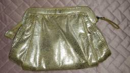Bolsa de mão clutch dourada croco comprar usado  São Paulo