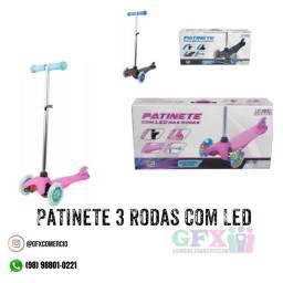 Patinete 3 rodas com LED