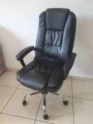 Cadeira de Escritório Presidente - Poltrona Giratória Couro Braço