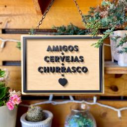 Placa Decor Amigos + Cervejas + Churrasco = ? (Madeira e impressão 3D)