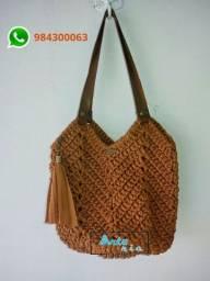 Bolsa sacola em crochê feita a mão