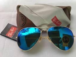 Oculos aviador espelhado azul Ray Ban