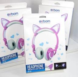 Headphone Orelha De Gato Com Led Exbom - HF-C22