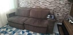 Sofá retrátil e reclinável em Suede marrom