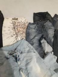 Lote de 8 calsa jeans e 2 shorts todas de marca