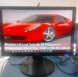 Monitor LG Tela de 19 Polegadas, Widescreen, Dvi e Vga 1360 x 768 R$ 349,00