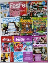 Vendo lote com 10 revistas usadas (editoras diversas) no tema Decoração de Festas
