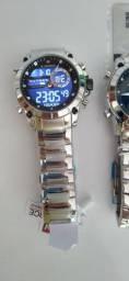 Relógio naviforce 9163 prata a pronta entrega