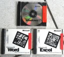 Cds originais windows 95 , word , excel - colecionador