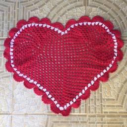 Tapete de crochê coração