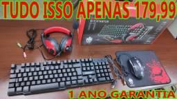 Super Kit Gamer Completo e Barato! Teclado Semi+Mouse+Headset+Mousepad!