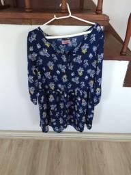 Vestido azul estampado da Opção (tamanho M)