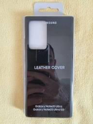 Capa Protetora Galaxy Note20 Ultra Couro - Preta