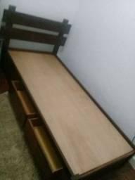 cama solteiro mas dois gavetões tudo em madeira