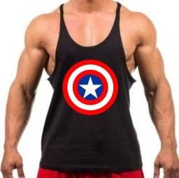 Camiseta Preta Regata Cavada Treino Academia Capitão América - Cor preta