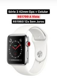 Apple Watch S3 42mm GPS + Celular Novo Garantia 1 Ano - 12x Sem Juros