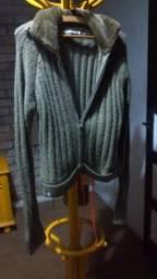 Casaco de Lã Verde com Pêlo na Gola / Pool - Tam M