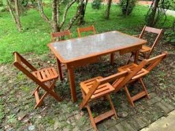Mesa de jantar, mesa para churrasco, desmontável, conjunto sala, madeira nobre