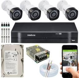 Kit Cftv Intelbras Completo 4 câmeras HD Instaladas - Acesso celular! Parcelamos!