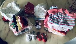 Lote roupa para bebê menina de 0 a 3 meses ,inclui 66 peças