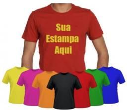 Camiseta várias cores em algodão com serigrafia uma cor