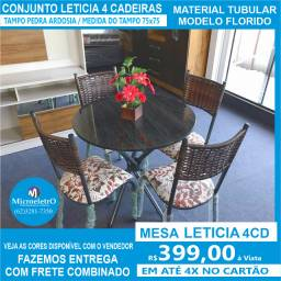 Mesa Leticia 4 cadeiras Tampo Redondo em Ardosia Preto 75X75