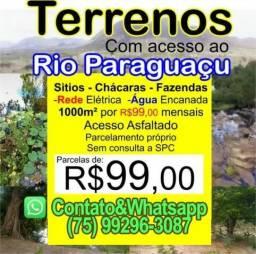 Terreno 1000m² R$99 mensais Acesso ao Rio Paraguaçu Lotes mini Sitio Chácara