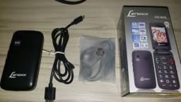 Celular Lenoxx CX908 2 chips Rádio FM fone e cabo USB com defeito no microfone