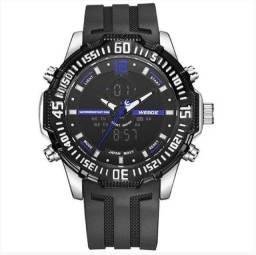 Relógio Masculino Weide AnaDigi WH - Preto, Prata e Azul