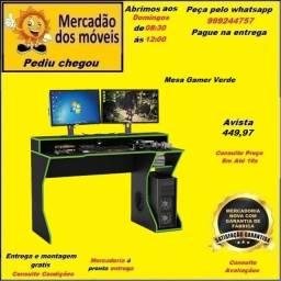 Mesa Gamer com Borda Verde 10x nos cartões(Entrega e montagem grátis)