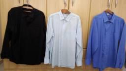 Camisas Sociais Manga Longa pacote com 3 unidades