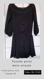 Vestido preto meia estação