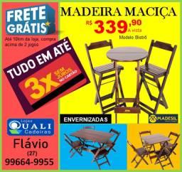Conjunto de Mesas e Cadeiras em madeira Maciça dobravel